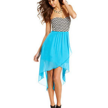Trixxi Juniors Dress, Strapless Zigzag-Print High-Low - Juniors Dresses - Macy's