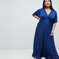 ASOS DESIGN Curve kimono pleated maxi dress at asos.com