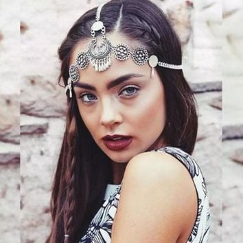 Bohemia Headbands For Women Hair Accessories Antique Silver Plated Chain Drape Head Piece Chains Tassel Tiaras Hairbands 3545