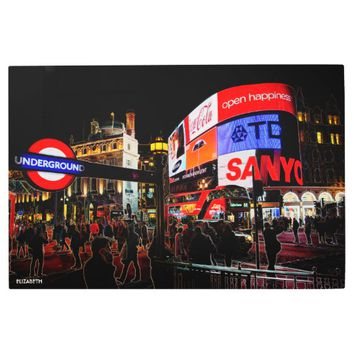 Fantasy Glowing Piccadilly In London At Night Metal Photo Print