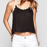 Full Tilt Daisy Trim Womens Crop Tank Black  In Sizes