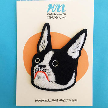 Chenille Boston Terrier Patch