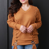 Plus Size Sides Corset Lace-Up Knitted Sweater | UrbanOG