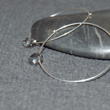 sterling silver thin hoop earrings,  black crystal earrings, medium hoops, 40 mm hoops, dangle crystal hoop earrings, minimalist earrings