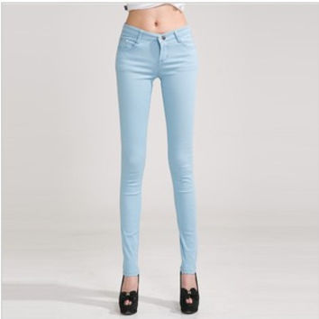 Pencil Jeans Woman Candy Colored Mid Waist Full Length Zipper Slim Fit Skinny Women Pants