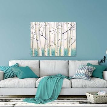 Birch tree wall art, Teal yellow gray aqua white, Contemporary landscape painting