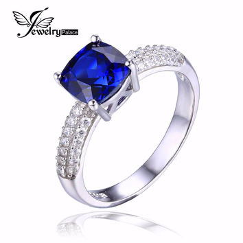 JewelryPalace Cushion 2.6ct Created Blue Sapphire Solitaire Engagement Ring 925 Sterling Silver Ring Fine Jewelry for Women