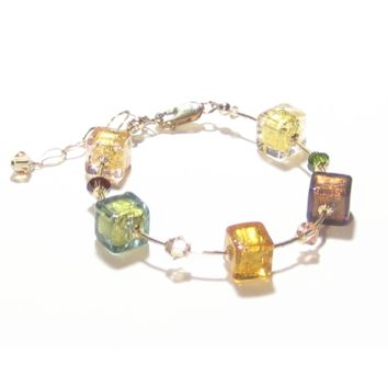 Murano Glass Autumn Colors Cube Gold Filled Bracelet