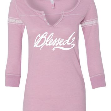 Blessed Three Quarter Sleeve Scoop Neck Christian Shirt - *Order One Size UP*
