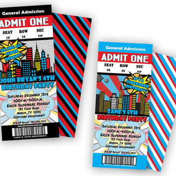Comic Superhero Birthday Invitation -  Boy Super Hero Birthday Party - Boy Birthday Invitations - Admission Ticket - Pow - Bang - Comic Boys