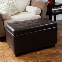 Simpli Home Cosmopolitan Rectangular Storage Ottoman Bench (Brown)