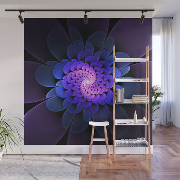 Spiraling Flower Fractal in Blue and Purple Wall Mural by lyle58
