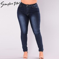 Simplee Plus Jeans Women 2018 Plus Size High Waist Jeans Full Length Fashion Skinny Pencil Stretch Denim Pants Jeans XXL-7XL