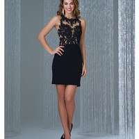 Preorder - Madison James 16-380 Black High Neck Open Back Short Lace Dress 2015 Homecoming Dresses