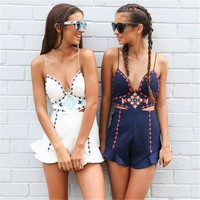 Navy Blue Embroidery Ruffles Playsuits Women Jumpsuits Elegant Summer White V Neck Jumpsuits Rompers Beach Ladies Short Overalls