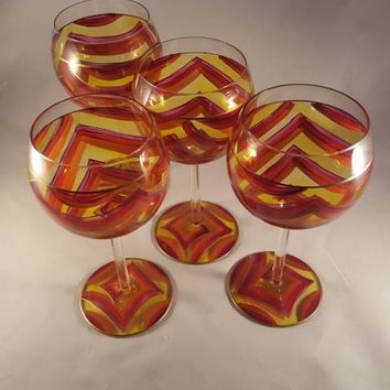 Hand Painted Yellow, Red, Orange, Purple, Gold Balloon Glasses  S/4