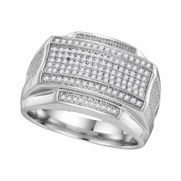 10kt White Gold Mens Round Pave-set Diamond Rectangle Cluster Ring 3/8 Cttw