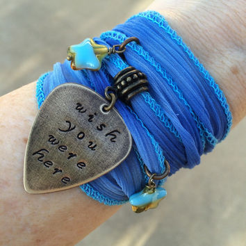 "Pink Floyd ""Wish You Were Here"" Ombre Blue Ribbon Wrap Bracelet, Glass Stars Hand Stamped"