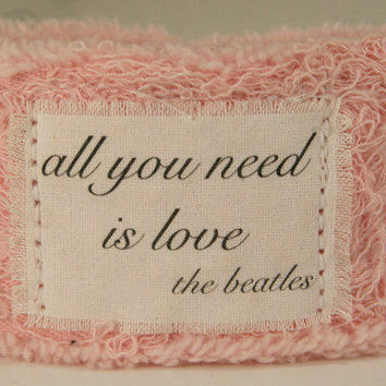 Music Jewelry Personalized Jewelry Fabric Bracelet Cuff Bracelet The Beatles All You Need is Love