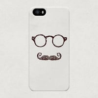 Hipster Guy with Fancy Moustache Grey iPhone 4 4s 5 5s 5c Case