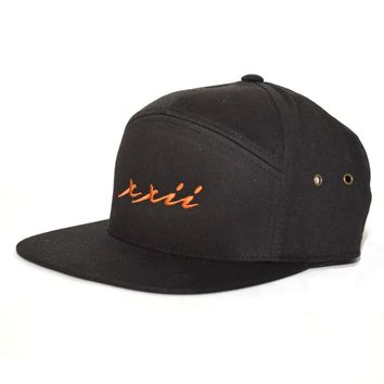 XXII 7 Panel Strap-back in Black and Copper