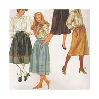 1980s Uncut Vintage Sewing Pattern Misses Skirts Size 18  Simplicity 6370 Fuss Free Fit