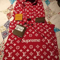 Supreme x Louis Vuitton Red Box Logo Hoodie Size XL 100% Authentic