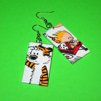 Calvin and Hobbes Earrings Comic Capture Bill by Nerdifacts