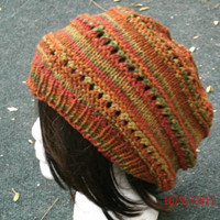 Rasta -Hand Knit Hat The Rasta Slouch in Autumn Knitted Hat-Fall, Winter Accessories