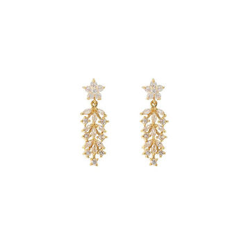 Small CZ Earrings with Leaf Design, Gold-Plate