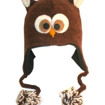 DeLux Owl Face Dark Brown Wool Pilot Animal Cap/Hat with Ear Flaps and Poms