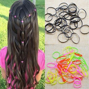 2 Bottles/lot Colorful Rubber Rope Ponytail Holder Hair Elastic Braids Plaits Hair Bands Ties hairpins Hair Accessories FT158