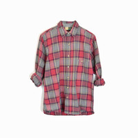 Vintage Plaid Work Shirt in Red & Gray / Red Plaid Lumberjack Plaid Shirt -  men's medium