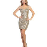 Gold Sequin & Jewel Illusion Bodycon Dress 2015 Homecoming Dresses