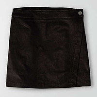 AEO Courduroy Wrap Skirt , True Black