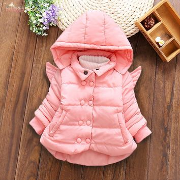 Winter Baby Infants Girls Double Breasted Kids Hooded WingThicken Down-Cotton Snow Wear Jacket Outwear Parkas Coat Casaco S6070