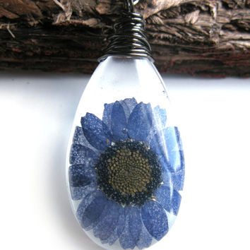 Blue Daisy  Necklace - Real Flower Encased in Resin - Pressed Flower Jewelry - Wire Wrapped Pendant - Resin Jewelry - Blue Daisy