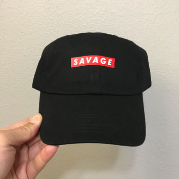 Black-Savage Dad Hat|21 Savage|tlop|yeezy|kanye|nochill|yeezus|supreme box|baseball cap|