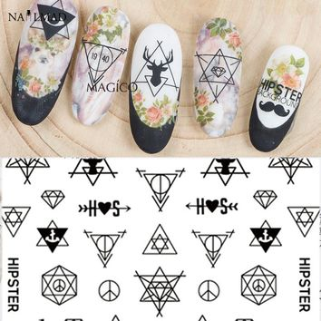 1 sheet NailMAD Hipster 3D Nail Art Stickers Deer Nail Sticker  Beard Adhesive Nail Decals
