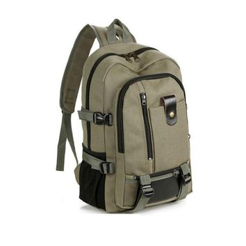 Men's Backpack Vintage Travel Canvas Leather Backpack Rucksack Satchel School Bag