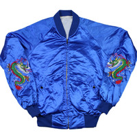 Vintage KOREA Dragon Satin Souvenir Tour Jacket in Blue Mens Size Medium