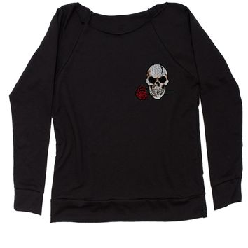 Embroidered Skull with Rose Patch (Pocket Print) Slouchy Off Shoulder Oversized Sweatshirt