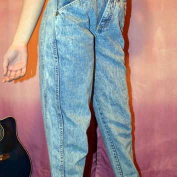 High Waisted Acid Wash Zena 1980's Vintage Skinny Jeans MADE IN U.S.A.