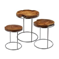 Lazy Susan Natural Teak Stacking Tables - 162-001