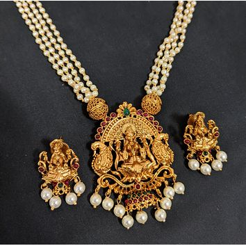 Multi stranded pearl chain with Goddess Lakshmi Pendant Necklace and Stud Earring set