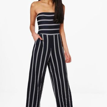 Katie Striped Bandeau Bow Back Jumpsuit | Boohoo