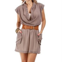 Khaki Tab Sleeve Dress