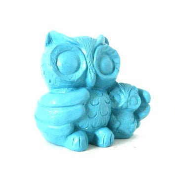 retro owl figurine, turquoise home decor, owls, figurines, upcycled, mod, retro home