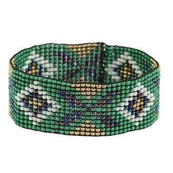 Green Boho Beaded Loom Stretch Bracelet 349168