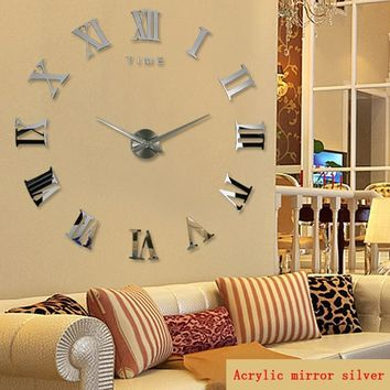 promotion new home decor large roman mirror fashion modern Quartz clocks living room diy wall clock sticker watch free